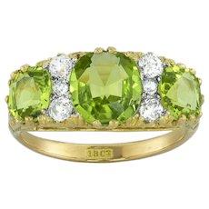An Edwardian Three Stone Peridot Ring