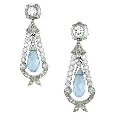 A Pair Of Diamond And Aquamarine Drop Earrings