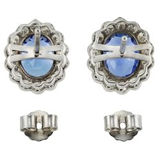 A Pair Of George V  Sapphire And Diamond Cluster Earrings