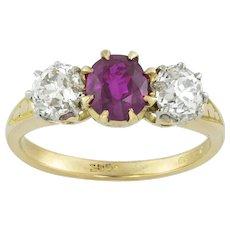 An Edwardian Three Stone Ruby And Diamond Ring