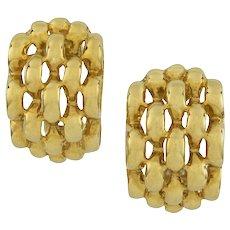 A Pair Of Yellow Gold Half-hoop Earrings