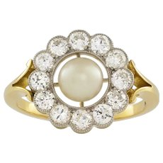 A Natural Pearl And Diamond Cluster Ring