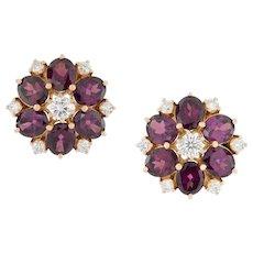 A Pair Of Garnet And Diamond Earrings