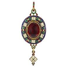 A Victorian Holbeinesque Garnet And Chrysoberyl Pendant