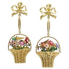 A pair of gold and multi-colour enamel basket earrings