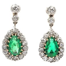 A Pair Of Edwardian Emerald And Diamond Drop Earrings