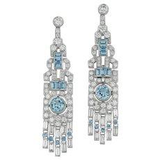 A Pair Of Aquamarine And Diamond Drop Earrings