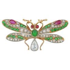 A Late Victorian Gem-set Butterfly Brooch