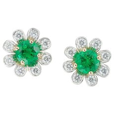 A Pair Of Emerald And Diamond Cluster Earrings