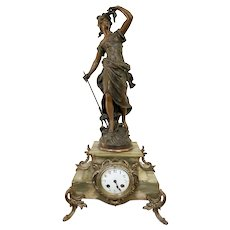 Antique 19th Century French Spelter and Onyx Clock