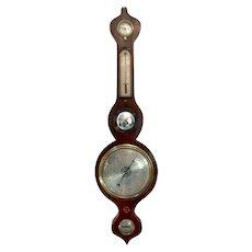 Antique 19th century rosewood banjo barometer