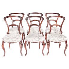 Set of 6 Victorian Carved Rosewood Dining Chairs