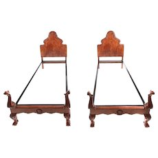 Pair of Fine Quality Carved Burr Walnut Single Beds C.1920