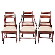 Set of 6 George III Antique Mahogany Dining Chairs