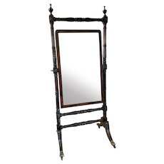 Outstanding Quality Large Antique Regency Carved Mahogany Cheval Mirror