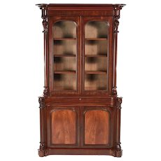 Superior Quality Victorian Carved Mahogany Bookcase