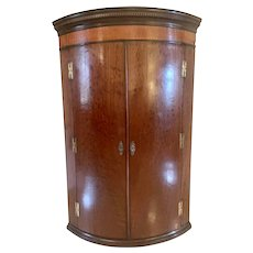 Quality 18th Century Antique George III Plum Pudding Mahogany Bow Fronted Corner Cabinet