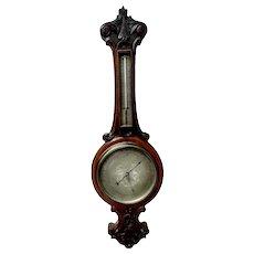 Antique Carved Oak Banjo Barometer