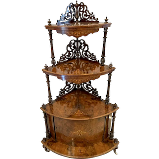 Large Outstanding Quality Antique Victorian Inlaid Burr Walnut Corner Whatnot