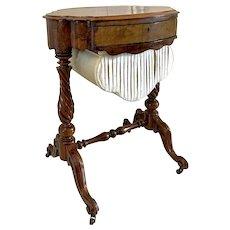 Antique Victorian Burr Walnut Work Table