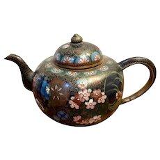 Unusual antique miniature Japanese cloisonné teapot