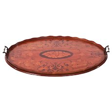 Antique Sheraton revival oval satinwood inlaid serving tray