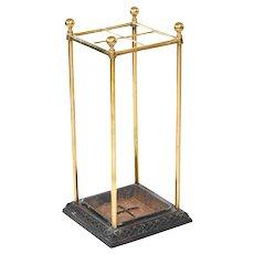 Antique 19th century Victorian brass and iron umbrella/stick stand
