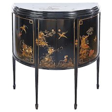 Antique Chinoiserie decorated Demi Lune shaped two door side cabinet