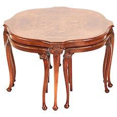 Fine antique burr walnut nest of four tables
