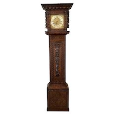 Outstanding Quality Carved Oak Brass Face Grandfather Clock