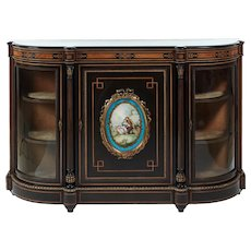 Fine French Ebonised and Amboyna Credenza with Large Sevres Style Plaque