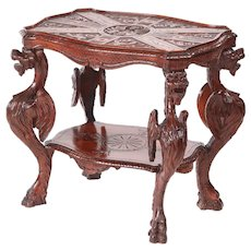 Unusual Antique Carved Oak Italian Centre Table