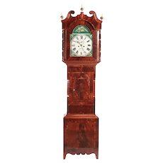 Outstanding 19th Century Antique Mahogany 8 Day Painted Face Longcase Clock