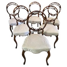 Fine Quality Set of Six 19th Century Victorian Antique Walnut Dining Chairs
