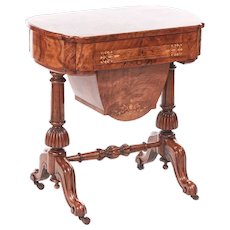 Outstanding Early Victorian 19th Century Inlaid Burr Walnut Writing or Sewing Table