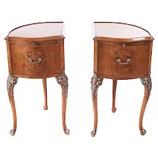 Outstanding Antique Pair of Birdseye Maple Bedside Cabinets with Brushing Slide by Hille of London