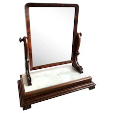 Large Antique Victorian Mahogany and Marble Topped Toilet Swing Mirror