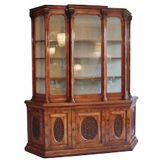 Magnificent Exhibition Quality Antique Victorian Burr Walnut Carved Breakfront Display Cabinet
