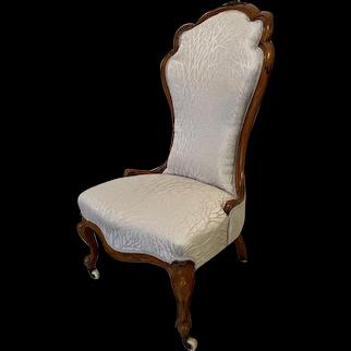 Antique 19th Century Victorian Carved Walnut Ladies Chair