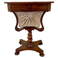 Antique 19th Century English William IV Rosewood Chess Top Sewing Table