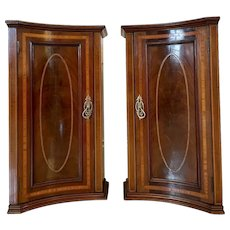 Pair of Antique 19th Century Victorian Mahogany Inlaid Shaped Night Stands