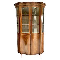 Antique 19th Century Victorian Mahogany Inlaid Serpentine Shaped Display Cabinet