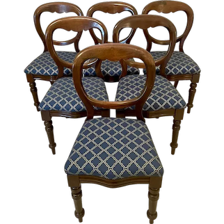 19th Century Antique Set of Six Victorian Mahogany Balloon Back Dining Chairs
