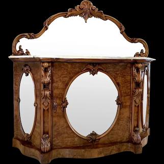 19th Century Victorian Burr Walnut Mirror Back Credenza