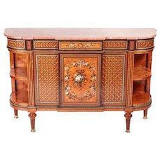 Magnificent exhibition quality antique satinwood inlaid side cabinet by Howard and Sons.
