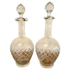 Pair of Edwardian cut glass decanters