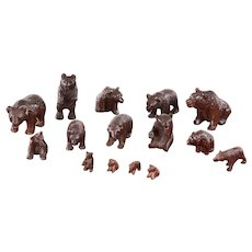 Fifteen 19th Century antique miniature carved Black Forest Bears.