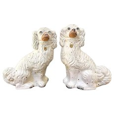 Pair of Antique Victorian White and Gold Staffordshire Dogs