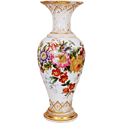 French Hand-Painted Opaline Glass Vase, c. 1860