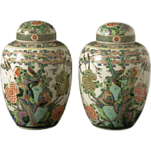"Pair of ""Famille Vert"" porcelain vases, China circa 1860"